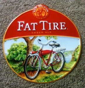 New Belgium Brewing Company Fat Tire Amber Ale Beer Bar Tin Pub Sign