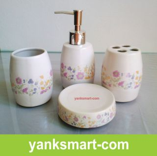 Matte Process 4 Pieces Ceramic Bathroom Accessories Set Vanity