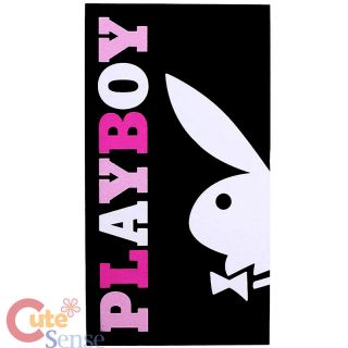 Play Boy Bunny Beach Bath Towel Bunny Cropped Black Pink Bunny Cotton