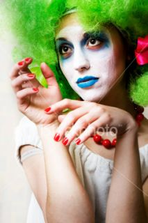 Clown, Femmes, Visage, Cirque, Peinture Photo libre de droits