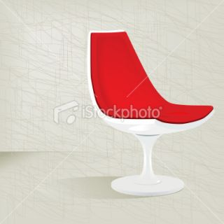 Red Retro 50s Plastic Chair Royalty Free Stock Vector Art Illustration