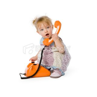 Cute girl with telephone. Child Baby People Toddler Phone Royalty Free