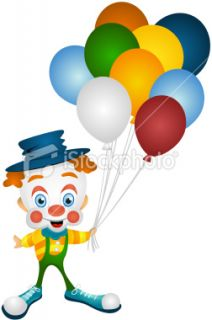 Clown with Balloons Royalty Free Stock Vector Art Illustration