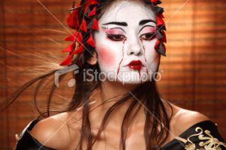 Geisha, Femmes, Chine, Pler, Maquillage rituel Photo libre de