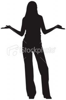 Hausser les épaules, Femmes, Silhouette, Une seule femme, Noir