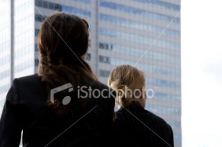 Girls watching buildings Royalty Free Stock Photo