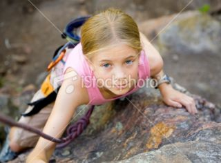 Young Girl Rock Climbing Royalty Free Stock Photo