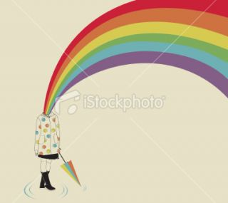 Girl and Rainbow Royalty Free Stock Vector Art Illustration