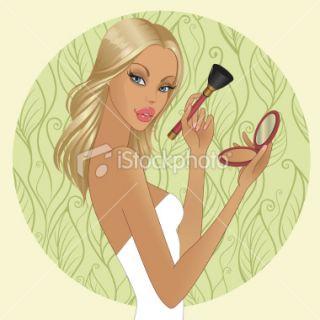 Girl applying powder Royalty Free Stock Vector Art Illustration