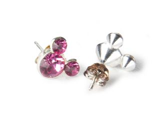 Disney Mickey Mouse Sterling Silver Pink Crystal Stud Earrings