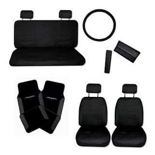Superior Faux Leather Black Car Seat Covers Set w/ Black Tattoo Floor