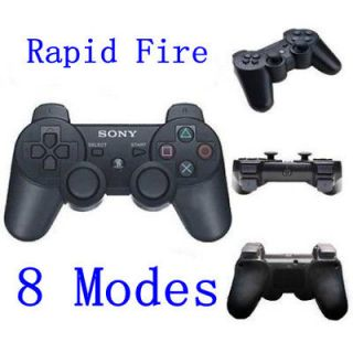 Black Playstation 3 PS3 8 Mode Rapid Fire Modded Wireless Controller
