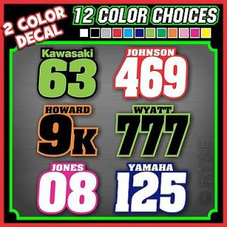 of 3 2 Color Racing Name Number Plate Vinyl Decals MX ATV Go Kart BMX