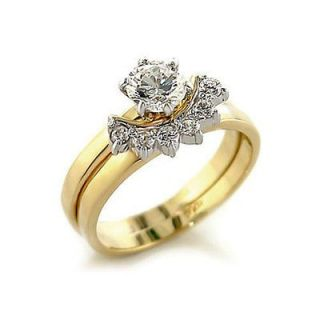 WOMENS ENGAGEMENT/WED​DING SET CZ GOLD TONE RING SIZE 5 6 7 8 9 10
