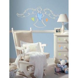New GUARDIAN ANGEL PRAYER WALL DECALS Baby Boys Nursery Stickers Mural