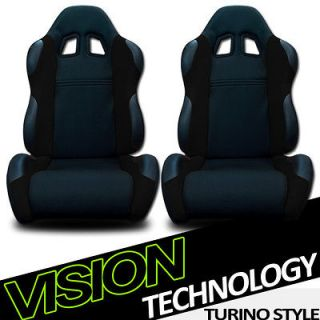 2x Universal Fit Black Fabric & PVC Leather Reclinable Racing Seats