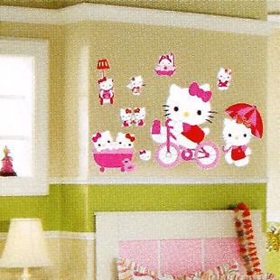Cute pink DIY hello kitty wall decor Vinyl Wall Decal stickers for