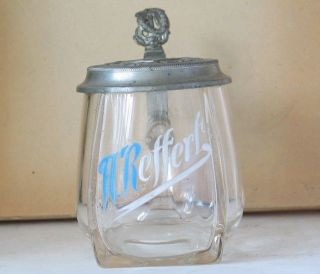 Antique German Glass Enameled Beer Stein Musical Theme c.1900