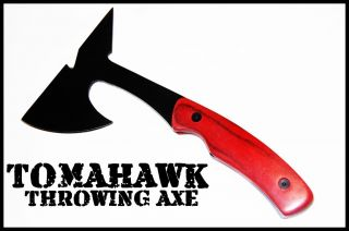 TOMAHAWK THROWING AXE w/ SHEATH OUTDOOR TACTICAL HATCHET Knife WOOD