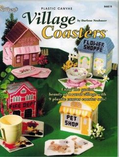 Village Shops Barn School Fire & Houses 9 Coaster Sets Plastic Canvas