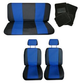 Lightweight Blue Black Synthetic Leather Car Seat Covers w/ Black