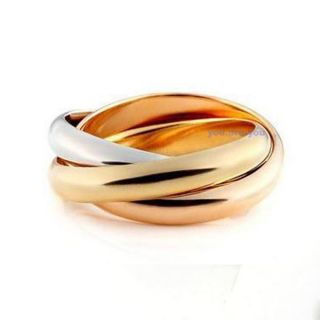 Fashion Stainless Steel Three Color Triple Band Links Roll Ring