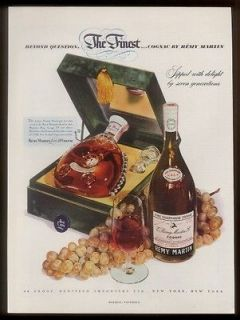 1950 Remy Martin Louis XIII cognac bottle & case photo vintage print