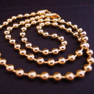 MENS 20 18K gold gp solid military ball bead LINK CHAIN HIPHOP
