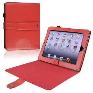 Red Stand PU Leather Case Cover Pouch For Apple iPad 1 1st Gen