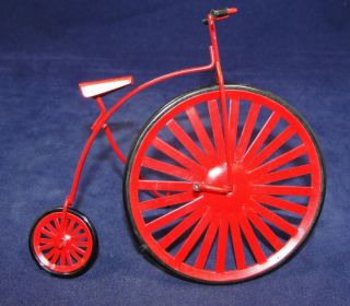 Vtg 4.75 Red Enamel on Metal High Wheel Bicycle Christmas Ornament or