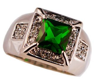 EMERALD simulated GREEN CONTEMPORARY DESIGN Mens ring 18K gold overlay