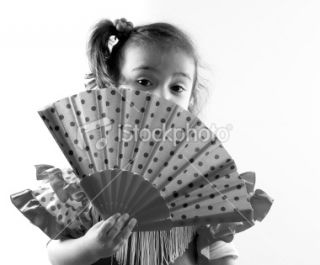 stock photo 16103083 little girl with fan