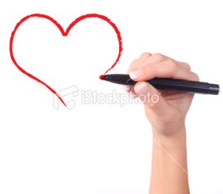 Childs hand drawing heart isolated Royalty Free Stock Photo