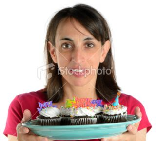 Woman Holding Happy Birthday Cupcakes  Stock Photo  iStock