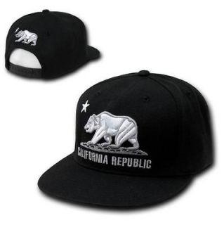 California Republic Bear Star Black Vintage Flat Bill Snapback Snap