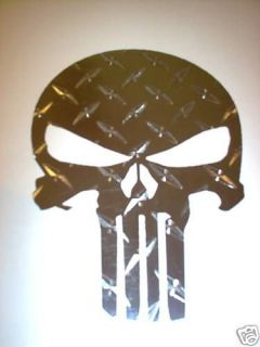 punisher skull decal sticker diamond plate chrome