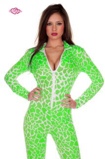 Contagious Clubwear Nicki Minaj Giraffe Green Catsuit UK 6 14 Costume