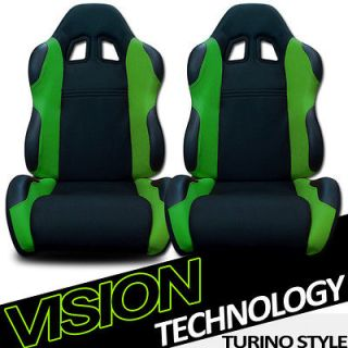 2pc LH+RH JDM Blk/Green Fabric & PVC Leather Racing Bucket Seats