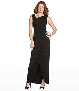 Adrianna Papell Asymmetrical Ruched Gown With Bead Detail Black, Sz