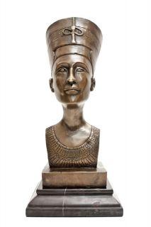 Bronze Art Sculpture Ancient Egyptian Queen Nefertiti Bust