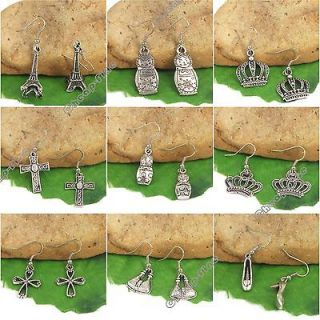 9Pairs Tibetan silver Mixed matryoshka Tower Crown cross high heels