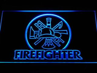 Newly listed b440 b Fire Fighter Ladder AXE Helmet Neon Light Sign