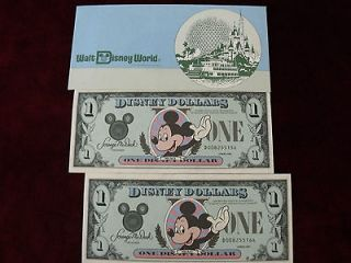 ESTATE VINTAGE PAIR CRISP 1987 DISNEY DOLLARS SEQUENTIAL SERIALS