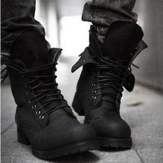 Mens Retro Combat boots Winter England style fashionable short Black