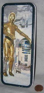 PENCIL CASE metal TIN 80 vintage C 3PO R2 D2   Star Wars