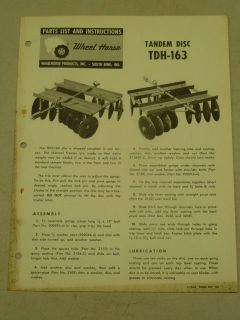 1963 WHEEL HORSE TRACTOR TDH 163 TANDEM DISC PARTS LIST MANUAL
