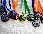 12 Boys Monster Truck Bottlecap Necklaces Party Favors Bright Colors