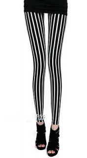 Black White Vertical Stripe Leggings Tights Girl Women Pant K201S