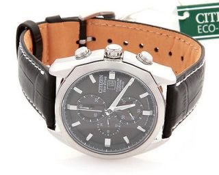 men s citizen eco drive leather band strap watch ca0020