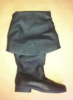 Black Leather Captain Jack Sparrow Medieval Knight Costume Mens Boots